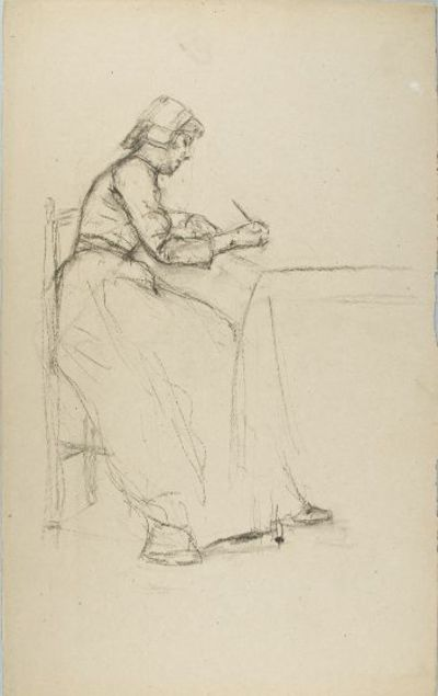 William Valentine Schevill American (Cincinnati, Ohio, U.S.A. 1864 - 1951 Weston, Massachusetts) Sketch of a Seated Woman Writing Drawing German, 19th-20th century Paper